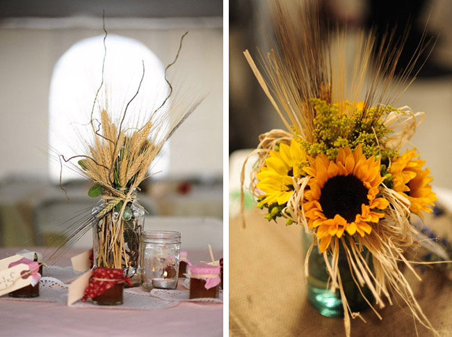 Sunflower Arrangements In Mason Jars : Farm wedding with sunflowers in colorado