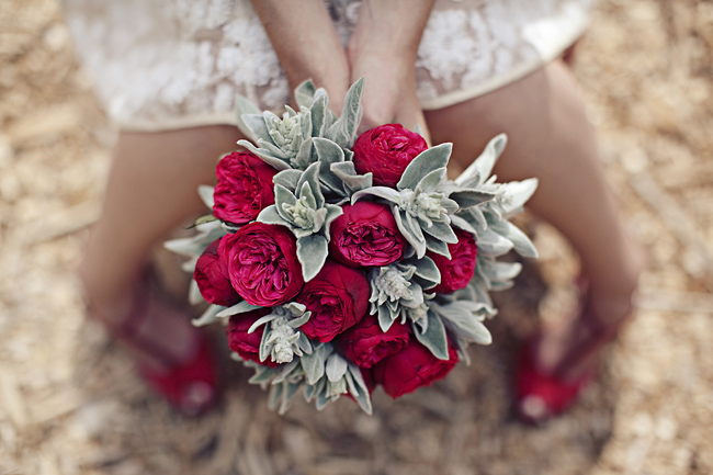 Red ranunculus and dusty miller bouquet
