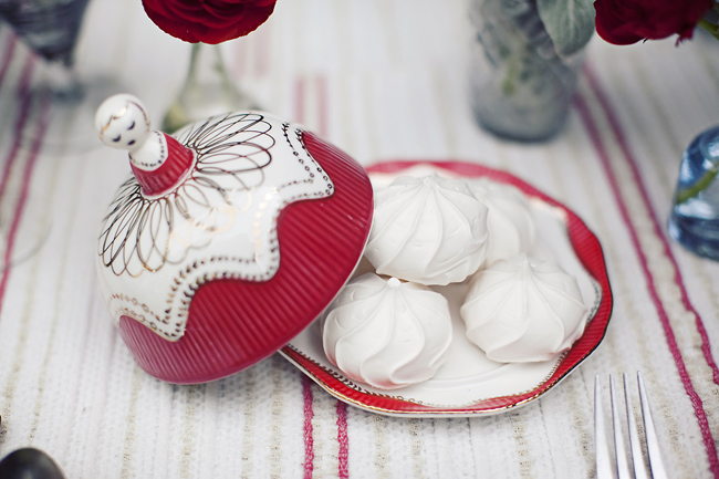 milkmaid butter dish filled with meringues