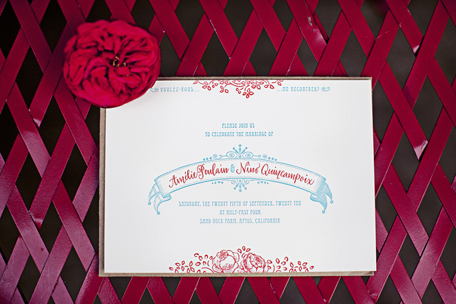 custom wedding invitation with red ranunculus