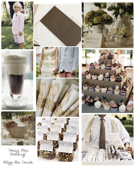 photos of chocolate brown wedding details and desserts