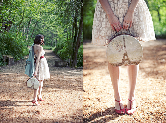 amelie outfit: vintage style dress with red T-strap shoes and eiffel tower bag