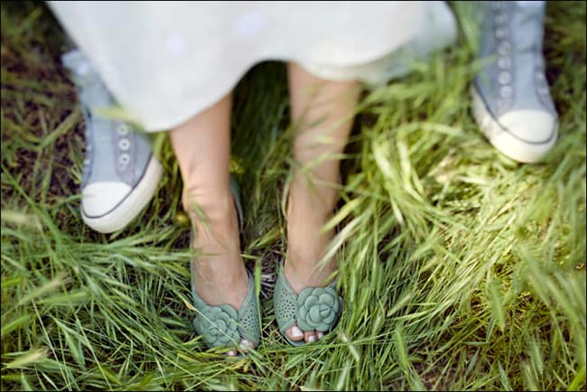bridal shoes in the grass