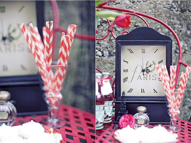 favors of red old-fashioned sodas and striped paper straws