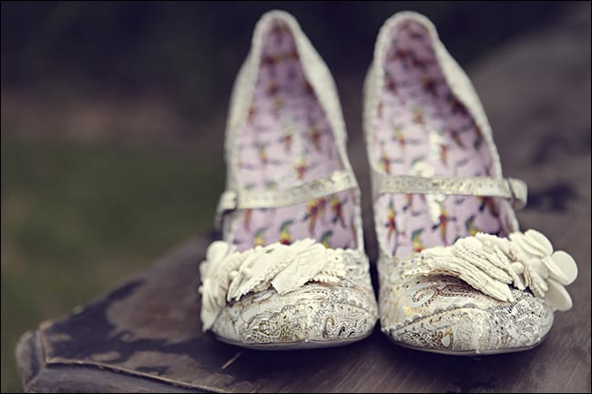 frilly lace bridal slippers