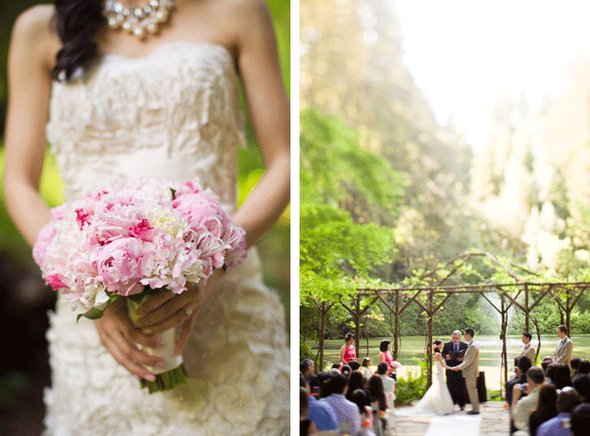bride with pink floral bouquet