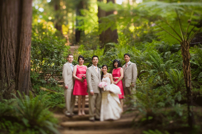 pink and taupe bridal party in forest at Nestldown