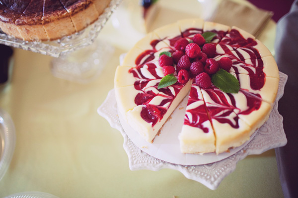 assorted decorative cheesecakes