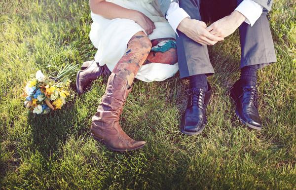 unique colorful tights worn by bride