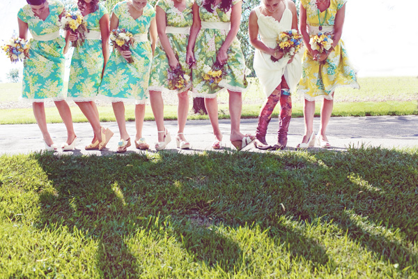 bride's colorful tights; hand-made garter; bridesmaid's fun dresses