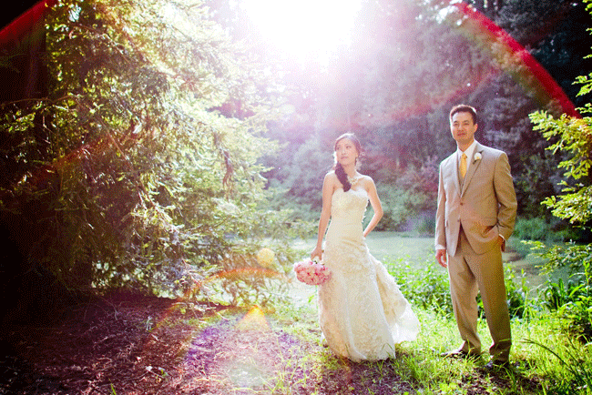 sunspot photo of bride and groom