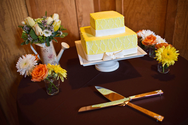 two-tier yellow square wedding cake