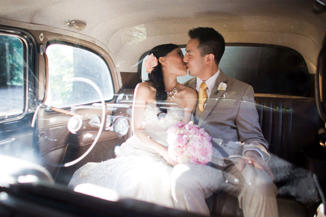 kissing in back seat of vintage car