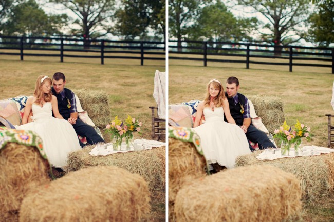 hay bale seating area for wedding at Marriott Ranch
