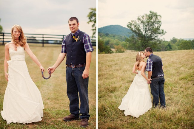 bride and groom hold a horseshoe together in Virginia farm field