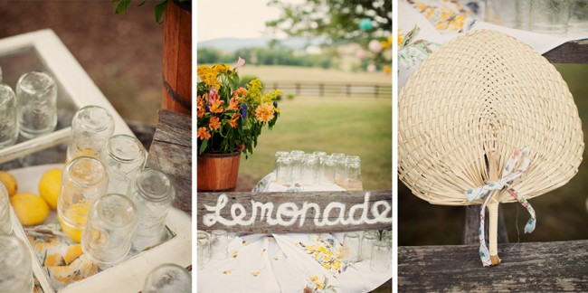 lemonade stand with wooden sign, mason jars, and handmade grass fan