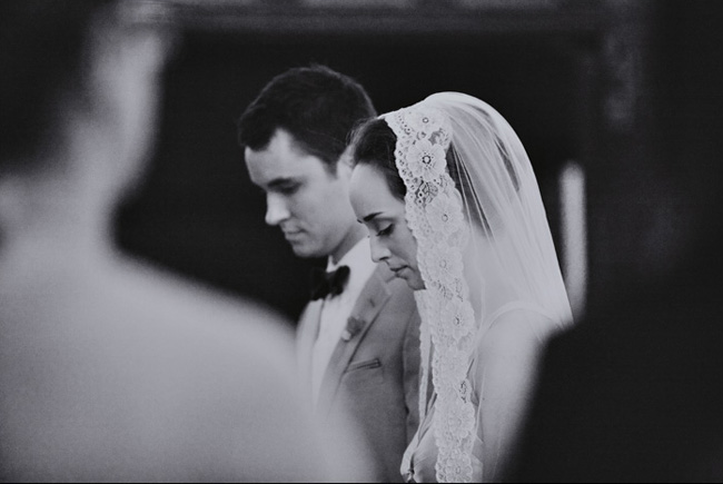 black and white wedding ceremony photo