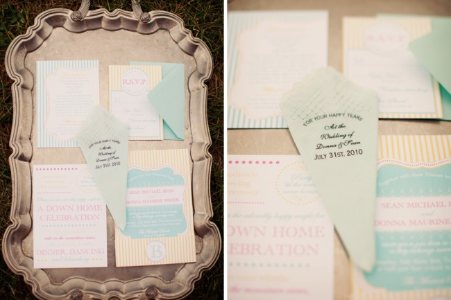 photo of wedding stationery on silver platter