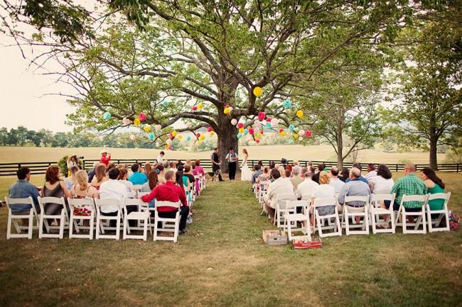 Outdoor wedding ceremony at Marriott Ranch
