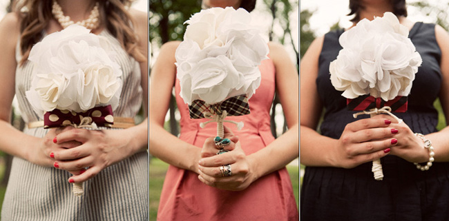 handmade fabric bouquets in flower shape tied with rope and bowtie
