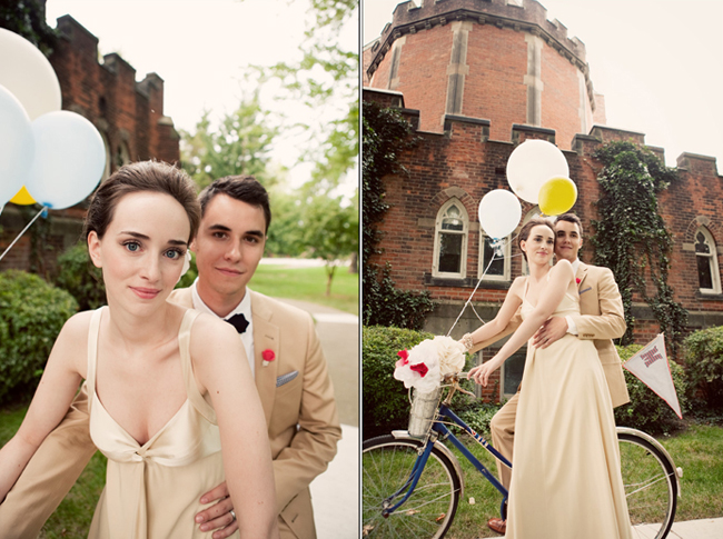 bride and groom on bicycle outside Grosse Pointe Academy Chapel