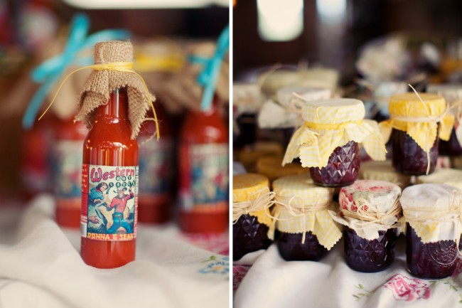 photo of wedding favor hot sauce with bottles of homemade jam