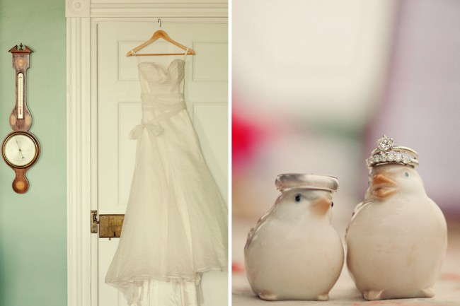 White dress hanging on back of door (left). to figurine birds with wedding rings on heads (right)