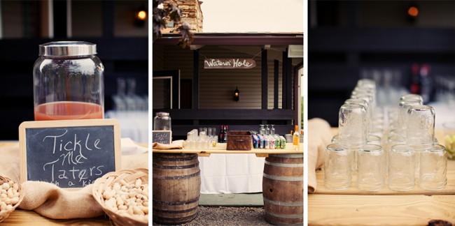 Drinks table set on wine barrels with mason jars