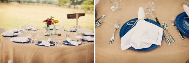 Outdoor reception table setting with burlap tablecloth