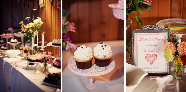 dessert table with cupcakes and handmade platters