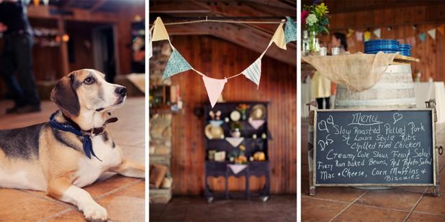 pet dog (left), bunting banner (middle), chalkboard menu leaning against wine barrel (right)