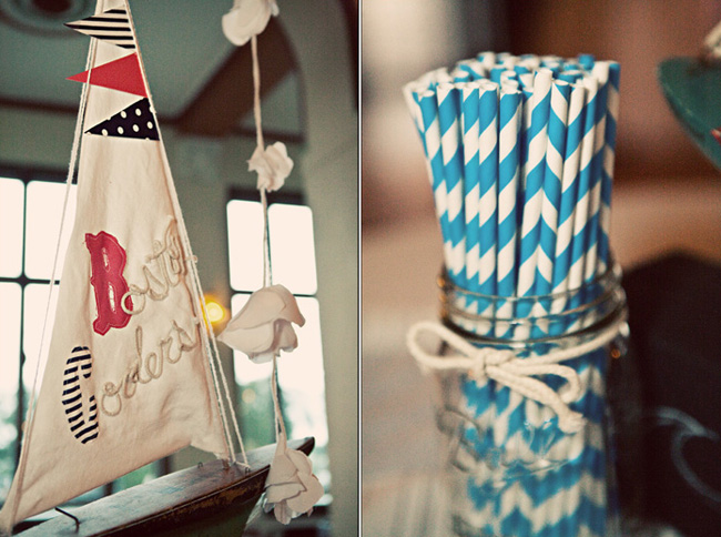 nautical themed wedding decor: fabric sailboat mainsail with rope mast