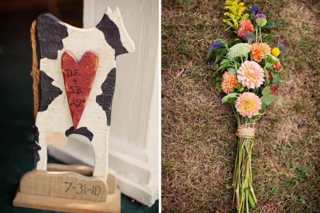 multi-colored flower bouquet, wooden cow wedding decor