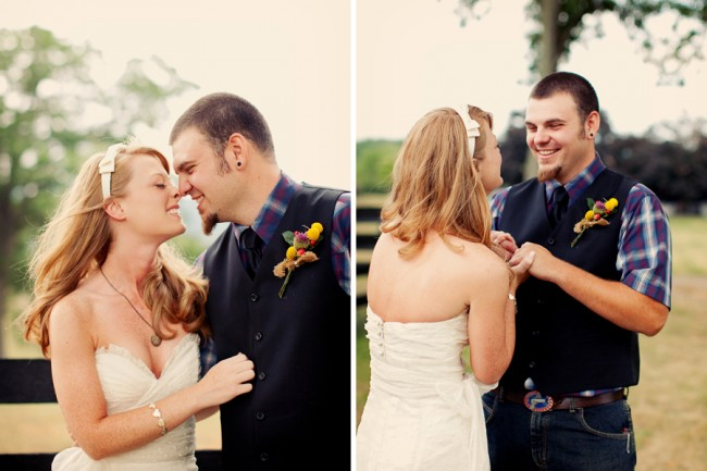Wedding at Marriott Ranch - bride and groom embrace for first look