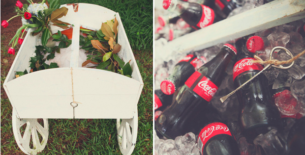 small white wagon with fresh red roses (left). coke bottles on ice (right)