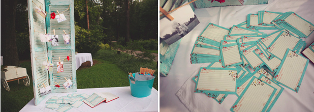 guestbook table with aqua blue shutters holding photos on clothespins
