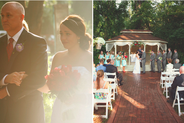 wedding ceremony in front of gazebo at The Cates House, Alabama