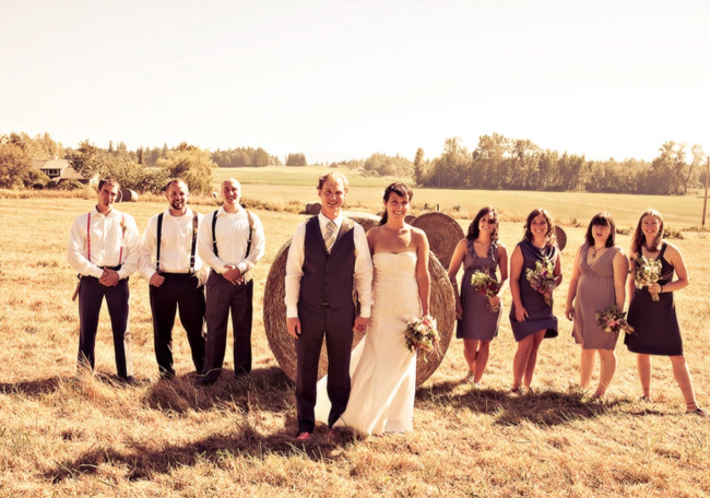 bridal party photo standing in field of hay bale in Washington State