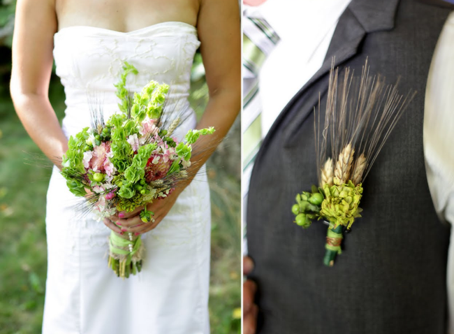 Bride's bouquet and groom boutonniere with hay