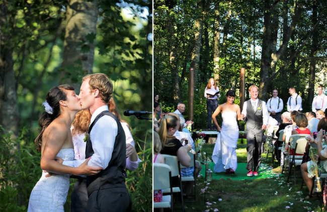 Wooded backyard wedding ceremony at private backyard in Washington