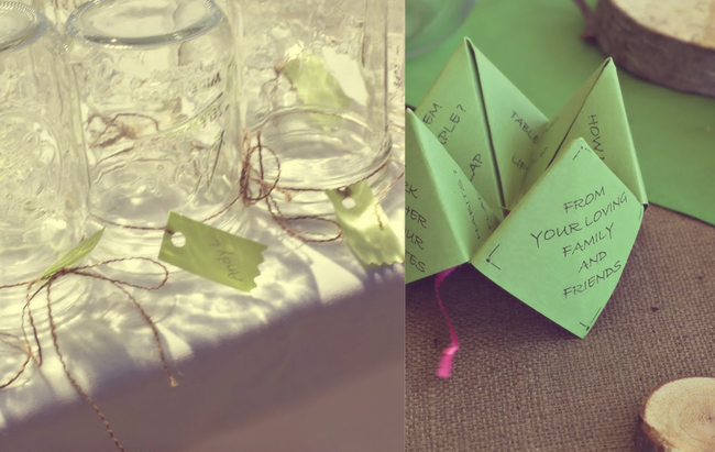 Mason jars with tags and string, green paper fortune teller