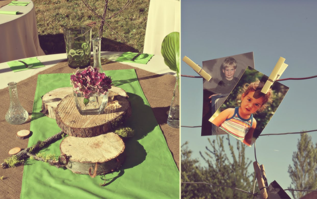 DIY wood round centerpiece on green and burlap tablecloth