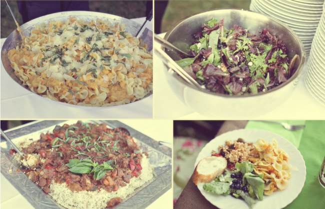 Four photos of the homemade food for the reception