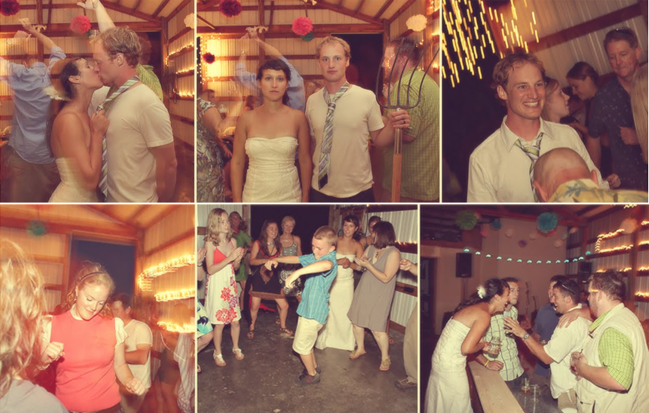 six photos of dancing guests