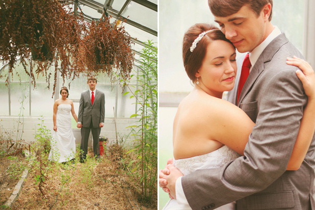 bride and groom hold hands inside greenhouse on rainy day