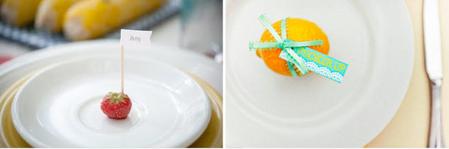 strawberry and orange place card ideas
