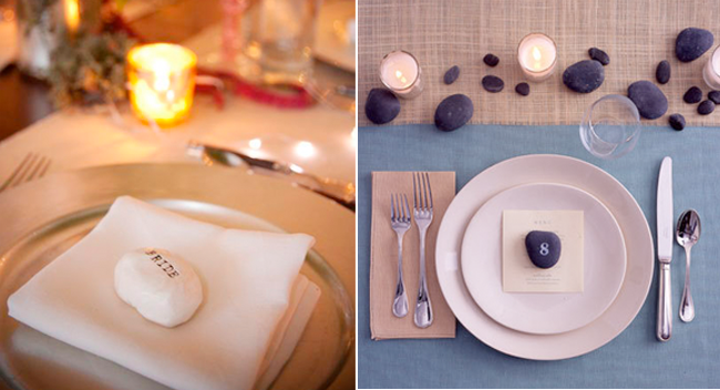 colorful white and dark purple rock place cards