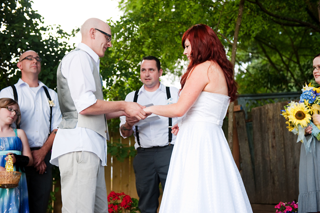 Intimate Backyard BBQ wedding ceremony