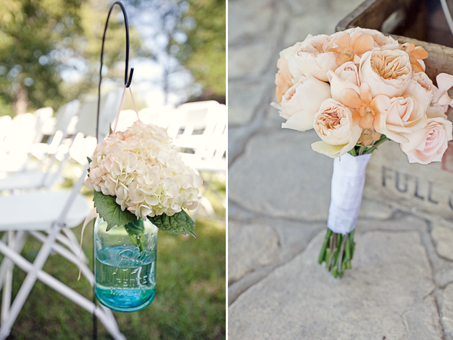 Soft peach rose bridal bouquet and mason jar on shepherd's hook