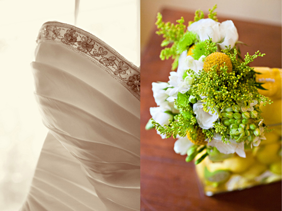 photos of bridal gown and bridal bouquet with yellow accents